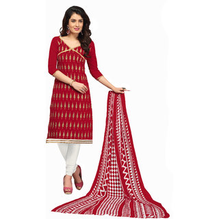 Parisha Red Chanderi Embroidered Salwar Suit Dress Material (Unstitched)