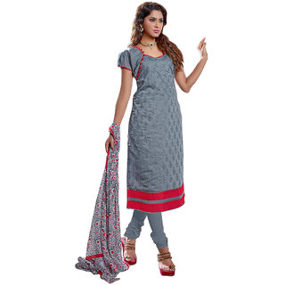 Lovely Look Gray Embroidered Un-Stitched Straight suit LLKKFAVMK1011