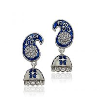 Traditional Ethnic Blue Paisley Jhumki Rhodium Plated Dangler Earrings with Crystals for Women by Donna ER30133R