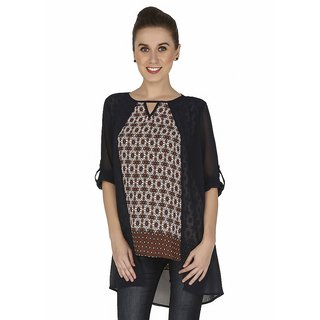 Girl Next Door Rust Printed Cotton Tunic Top For Women