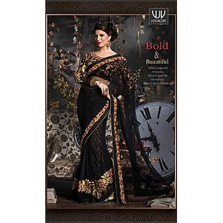 Black Net Party Wear Bridal Designer Saree with Blouse