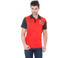 Official Royal Challengers Bangalore (RCB) Solid Mens Polo Neck T-Shirt