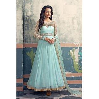 Nilkanth fashion Sky Blue Net Semi-stitched Handwork Designer Anarkali Suit