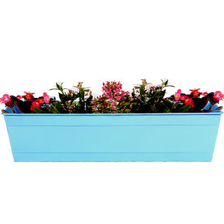 TrustBasket Rectangular Railing Planter -Teal (23 Inch)