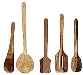 Cubee Wooden Spoon Set Of 5  1 Frying, 1 Serving, 1 Spatula, 1 Chapati Spoon, 1 Desert Spoon Or Wooden Ladle Set