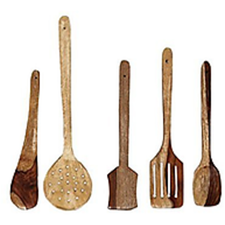 Cubee Wooden Spoon Set Of 5  1 Frying, 1 Serving, 1 Spatula, 1 Chapati Spoon, 1 Desert Spoon Or Wooden Ladle Set