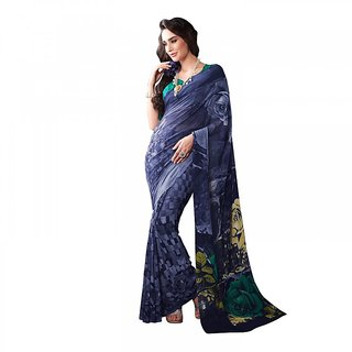 Aaina Multicolor Georgette Printed Saree with Blouse (FL-11443)