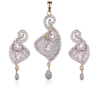 American Diamond Pendant Set With Matching Earrings