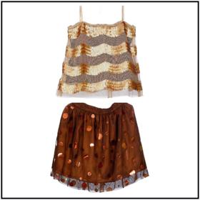 Chocolate Skirt  Sequinned Top Set