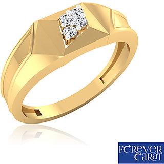 0.09ct Natural White Diamond Mens Ring 14K Hallmarked Gold Ring GR-0004