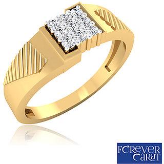 Certified 0.20ct White Diamond Mens Ring 14K Hallmarked Gold Ring GR-0003
