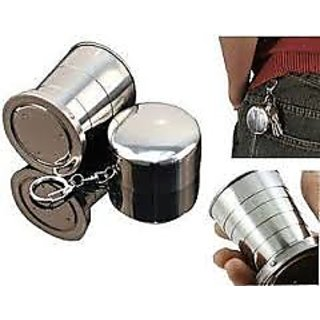 2PCS SET STEEL MAGIC GLASS CUP FOLDING CUP WITH KEY CHAIN FOR CAMPING TRAVELING