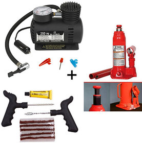 BESTBUY Combo of Car Tyre Inflator + Hydraulic 2.0 Ton Jack + Tubeless Tyre Puncture Rep
