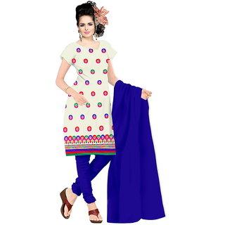 Shree Vardhman Cream Chanderi Straight Dupata Work Dressmaterial Suit.