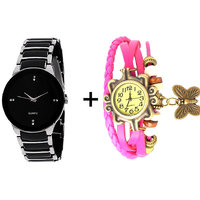 Gtc Combo Of Black  Silver Quartz Analog Watch For Man With Pink Designer Leather Analog Watch For Woman - 91406819
