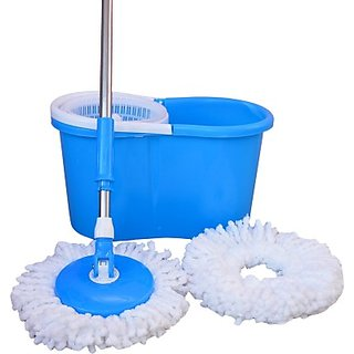 Blue White Plastic Handle Foldable Steel Mop