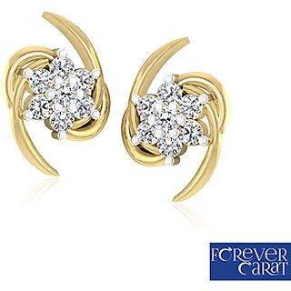 Certified 0 15ct White Diamond Earring Stud 14k Hallmarked Gold Er 0005