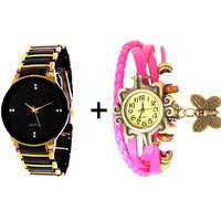 Gtc Combo Of Black  Golden Quartz Analog Watch For Man With Pink Designer Leather Analog Watch For Woman