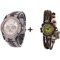 Gtc Combo Of Silver Quartz Analog Watch For Man With Brown Designer Leather Analog Watch For Woman