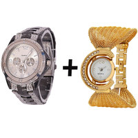 Gtc Combo Of Silver Quartz Analog Watch For Man With Golden Bracelet Analog Watch For Woman