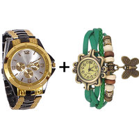 Gtc Combo Of Black  Golden Quartz Analog Watch For Man With Green Designer Leather Analog Watch For Woman
