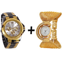Gtc Combo Of Black  Golden Quartz Analog Watch For Man With Golden Bracelet Analog Watch For Woman