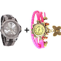 Gtc Combo Of Black  Silver Quartz Analog Watch For Man With Pink Designer Leather Analog Watch For Woman