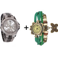 Gtc Combo Of Black  Silver Quartz Analog Watch For Man With Green Designer Leather Analog Watch For Woman