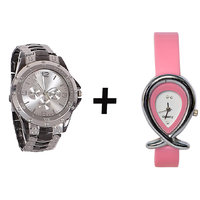 Gtc Combo Of Black  Silver Quartz Analog Watch For Man With Pink Oval Leather Analog Watch For Woman