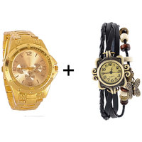 Gtc Combo Of Golden Quartz Analog Watch For Man With Black Designer Leather Analog Watch For Woman