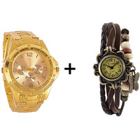 Gtc Combo Of Golden Quartz Analog Watch For Man With Brown Designer Leather Analog Watch For Woman