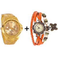 Gtc Combo Of Golden Quartz Analog Watch For Man With Orange Designer Leather Analog Watch For Woman
