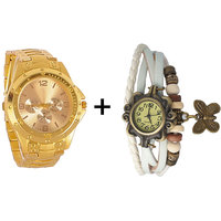 Gtc Combo Of Golden Quartz Analog Watch For Man With White Designer Leather Analog Watch For Woman