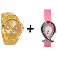 Gtc Combo Of Golden Quartz Analog Watch For Man With Pink Oval Leather Analog Watch For Woman