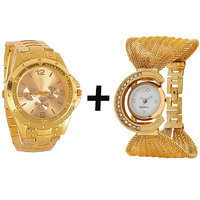 Gtc Combo Of Golden Quartz Analog Watch For Man With Golden Bracelet Analog Watch For Woman