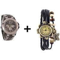 Gtc Combo Of Silver Quartz Analog Watch For Man With Black Designer Leather Analog Watch For Woman