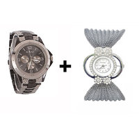 Gtc Combo Of Silver Quartz Analog Watch For Man With Silver Bracelet Analog Watch For Woman