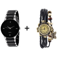 Gtc Combo Of Black  Silver Quartz Analog Watch For Man With Black Designer Leather Analog Watch For Woman - 91408333