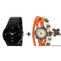 Gtc Combo Of Black Quartz Analog Watch For Man With Orange Designer Leather Analog Watch For Woman