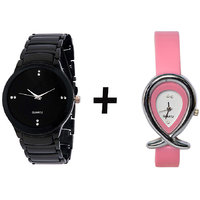 Gtc Combo Of Black Quartz Analog Watch For Man With Pink Oval Leather Analog Watch For Woman