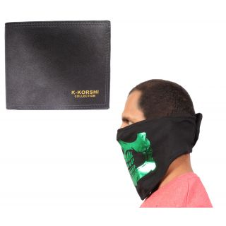 sushito Casual Black Mens Wallet With Ridding Face Mask JSMFHWT0544-JSMFHFM0781