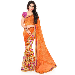 Sareemall Orange Faux Georgette Printed With Lace Border Saree With Unstitched Blouse 2NZR8438