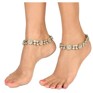 The jewelbox antique traditional gold ethnic kundanfloral payal anklet pair