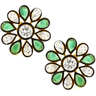 The Jewelbox 7 Stone Flower Kundan Polki American Diamond Emerald Green Gold Plated Stud Earring for Women