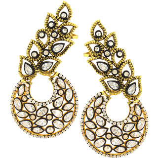 The Jewelbox Designer Flower Kundan Polki Gold Plated Chaand Bali Ear Cuff Earring for Women