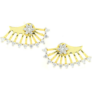 The Jewelbox Flower 18K Gold Plated Ear Cuff Jacket Pair Stud Earring for Women