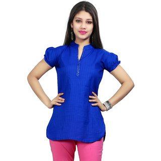 VALAS Womens Cotton Blue Pintex Short Kurti
