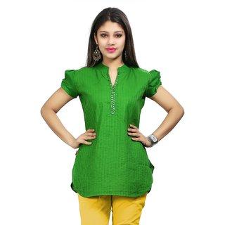 VALAS Womens Cotton Green Pintex Short Kurti