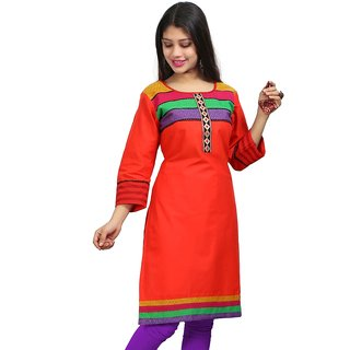 VALAS Womens Cotton Embroidered Red Long Kurti