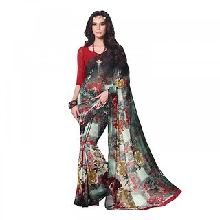 Aaina Multicolor Georgette Printed Saree with Blouse (FL-11454)